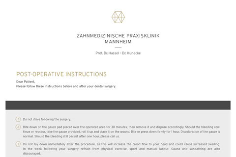 Post Operative Instructions - Zahnarzt Mannheim